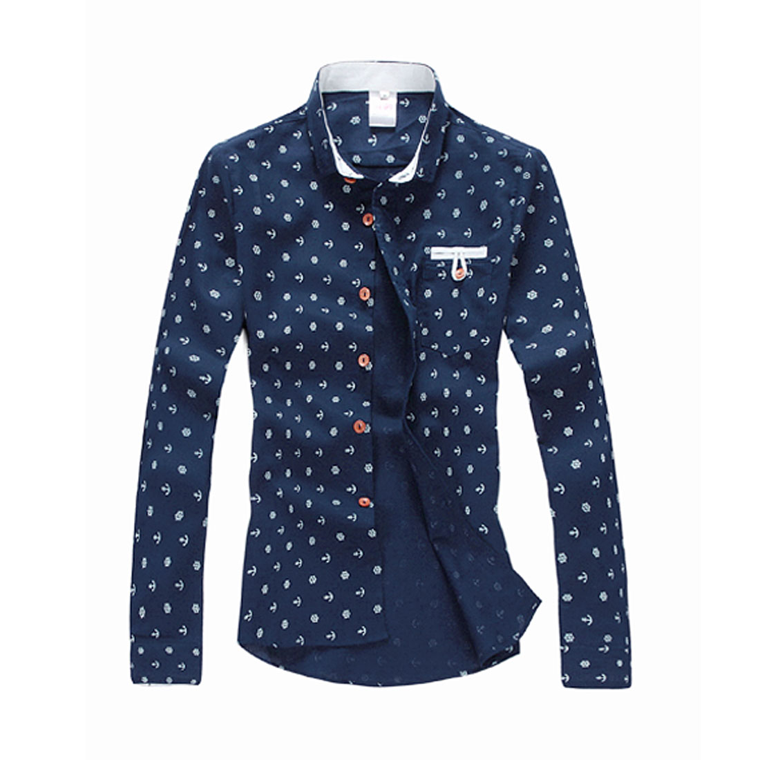 Mens Korea Fashion Autumn Long Sleeve Dark Blue Printed Shirt S
