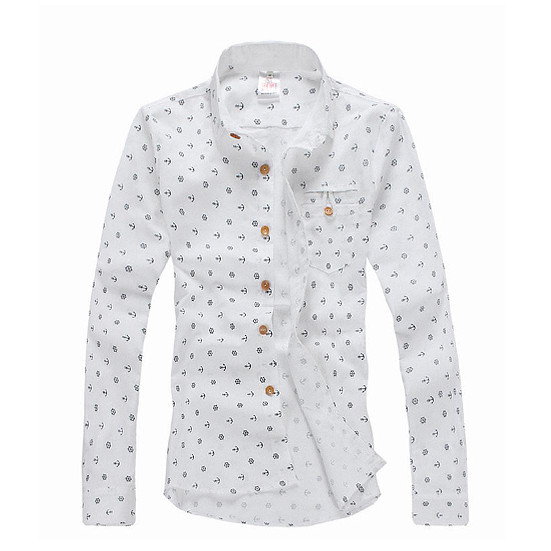 Mens Long Sleeve Rudder Printed Korea Fashion White Shirt S