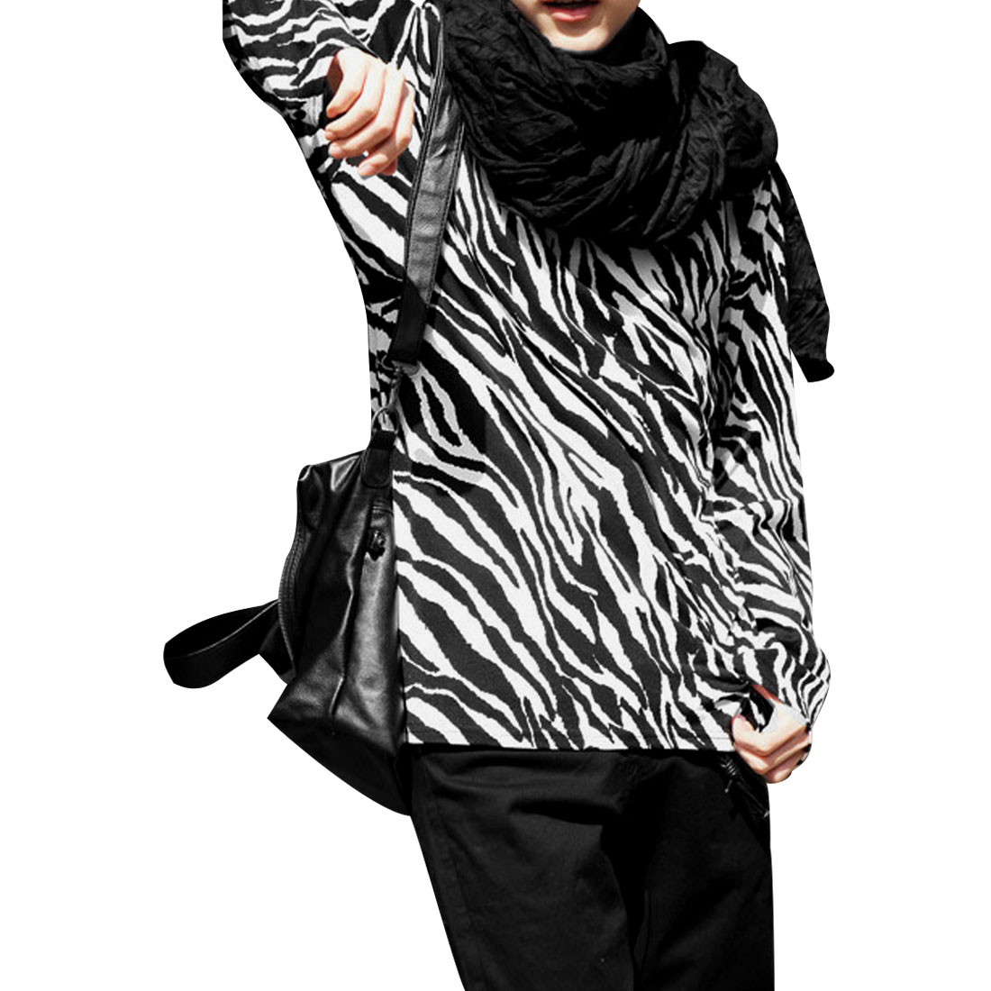 Men Round Neck Zebra Design Long Sleeves Black White Shirt S