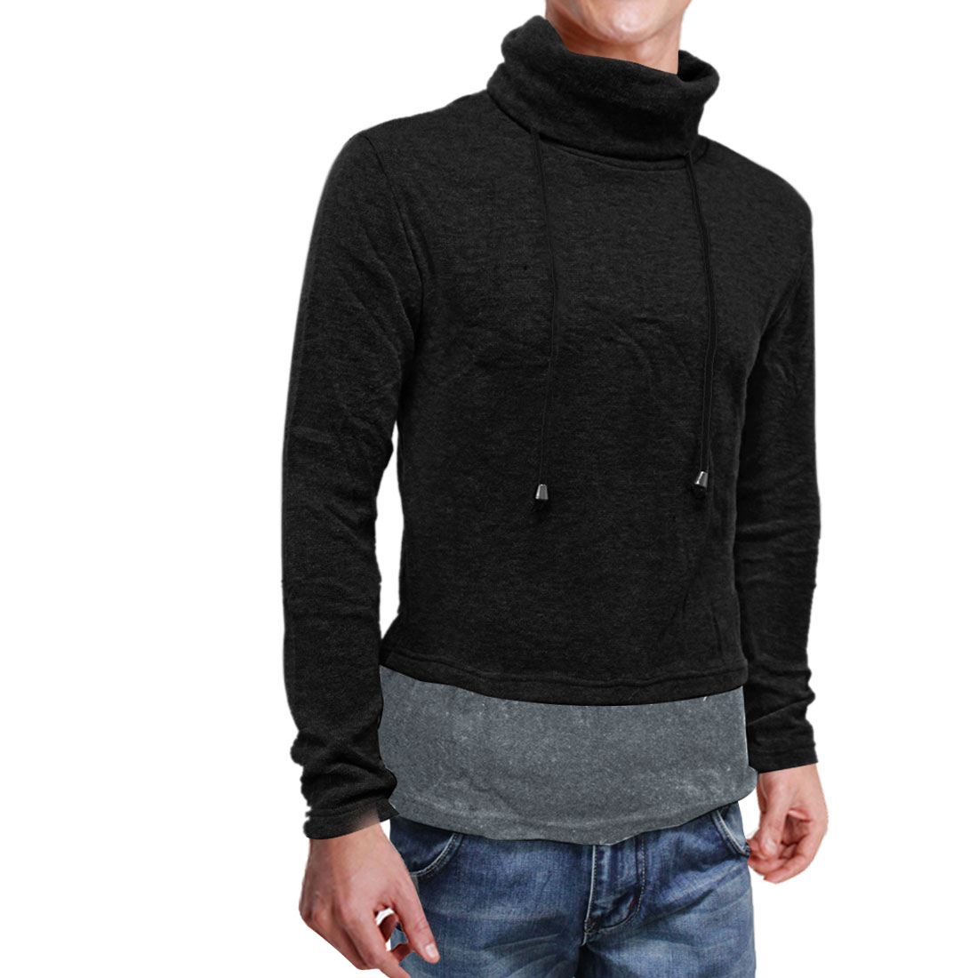 Men Turtleneck Drawstring Pullover Color Patch Black Gray Shirt S