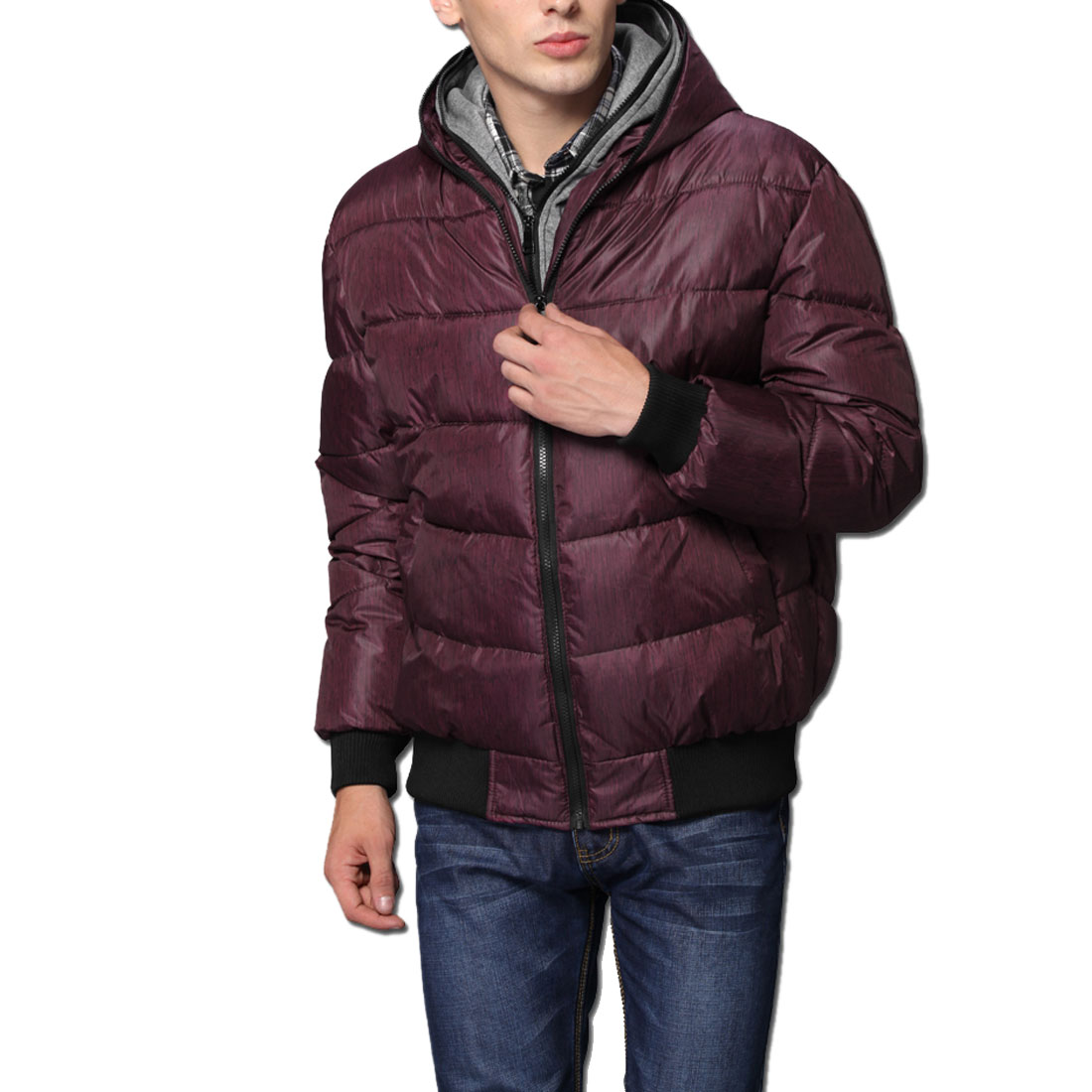Men Fuchsia Black Long Sleeves Double Zipper Casual Padded Coat M
