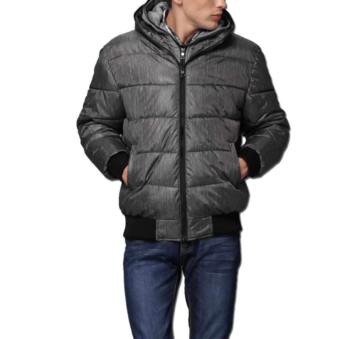 Men Light Gray Black Convertible Collar Zip Up Casual Padded Coat M