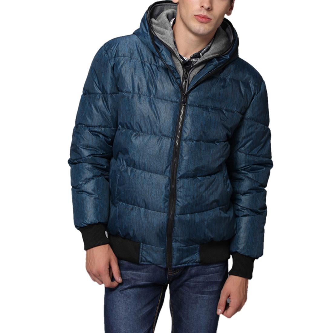 Men Blue Black Hooded Side Pockets Long Sleeves Winter Padded Coat M