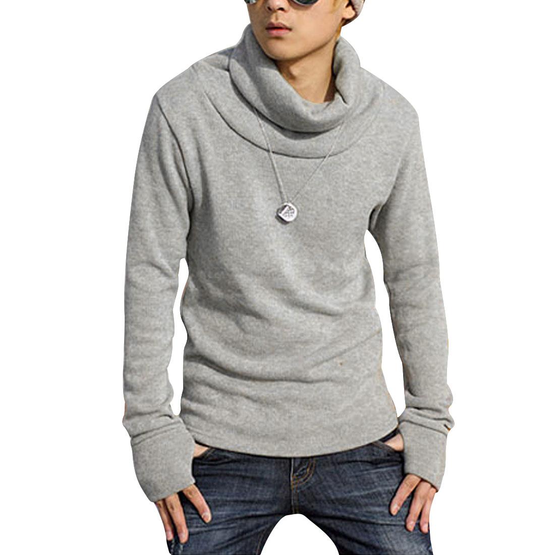Mens Fashion Light Gray Turtle Neck Slipover Knit Primer Shirt M