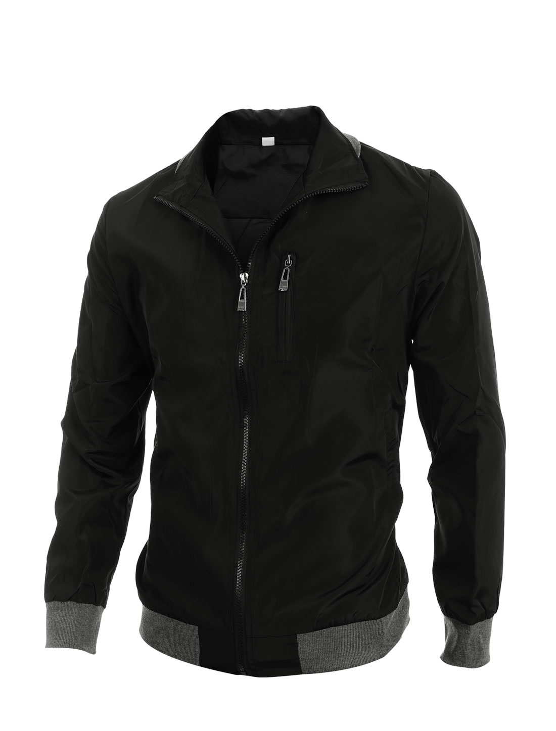 Men Convertible Collar Ribbed Hem Full Zip Up Black Windbreaker M