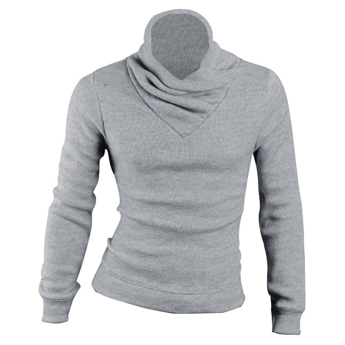 Men Long Sleeve Stretch Turtleneck Light Gray Pullover Knitwear S