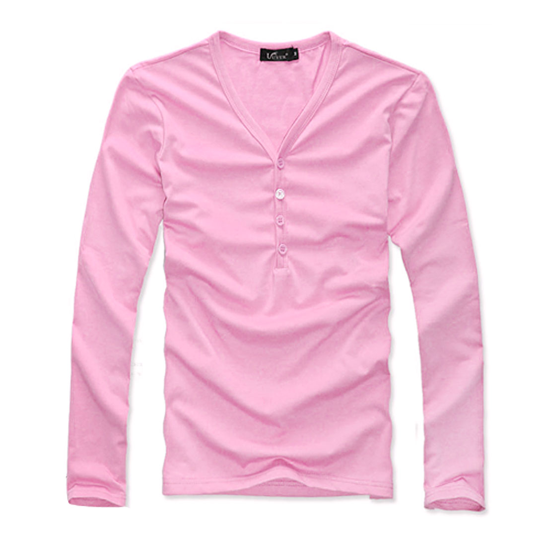 Mens Pink Stylish Simple Design Buttons Top Slim Fit Henley Top Shirt S