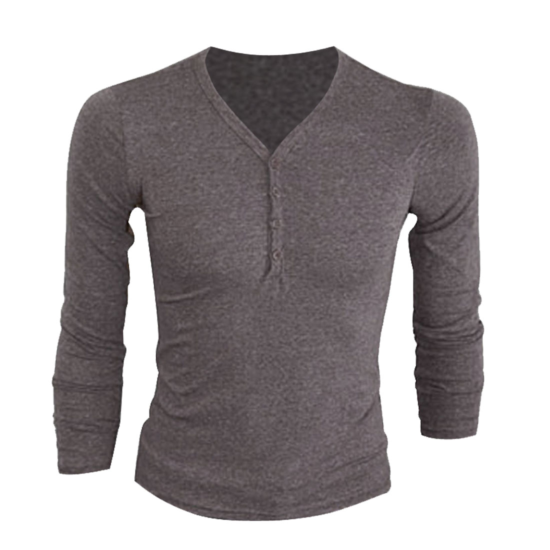 Men Coffee Color Slim Fit Stretch Simple Style Y Neck Leisure Henley Shirt S