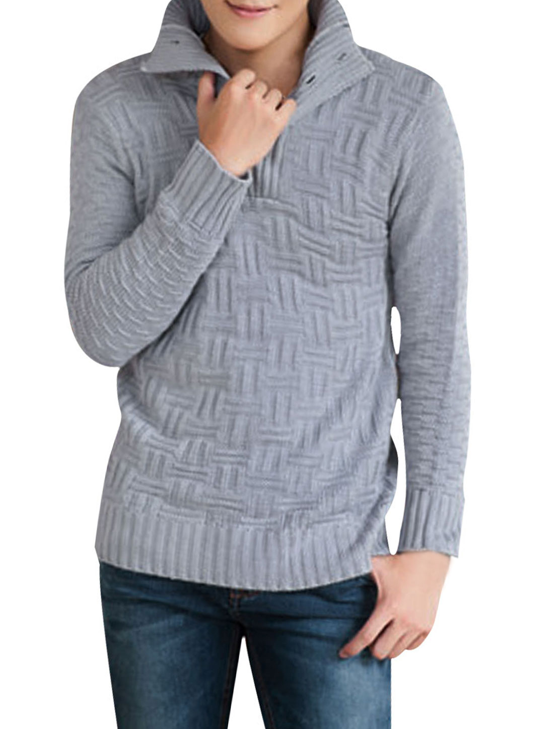 Men Light Gray Convertible Collar Five Buttons Front Pullover Sweater S