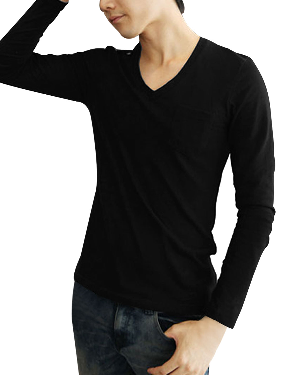 Men Black Long Sleeves Button-tab Epaulet Pullover Tee Shirt M