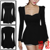 Ladies Slim Square Neck Long Sleeve Pure Black Tunic Shirt XS