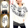 Women Deer Snowflakes Pattern Black White Hooded S