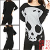 Lady Black Gray Skull Pattern Fornt Stretch Stars Detail Loose Tunic Shirt M