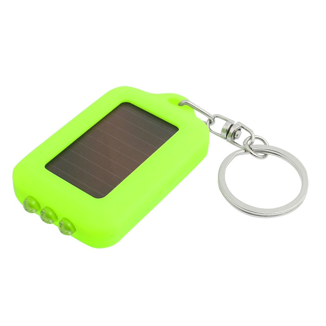 Portable Solar Energy Split Ring 3 LED Flashlight Keychain Keyring Yellow-green