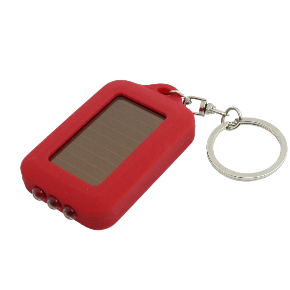 Mini 3 LED Solar Powered Flashlight Torch Key Chain Ring Keyring Red