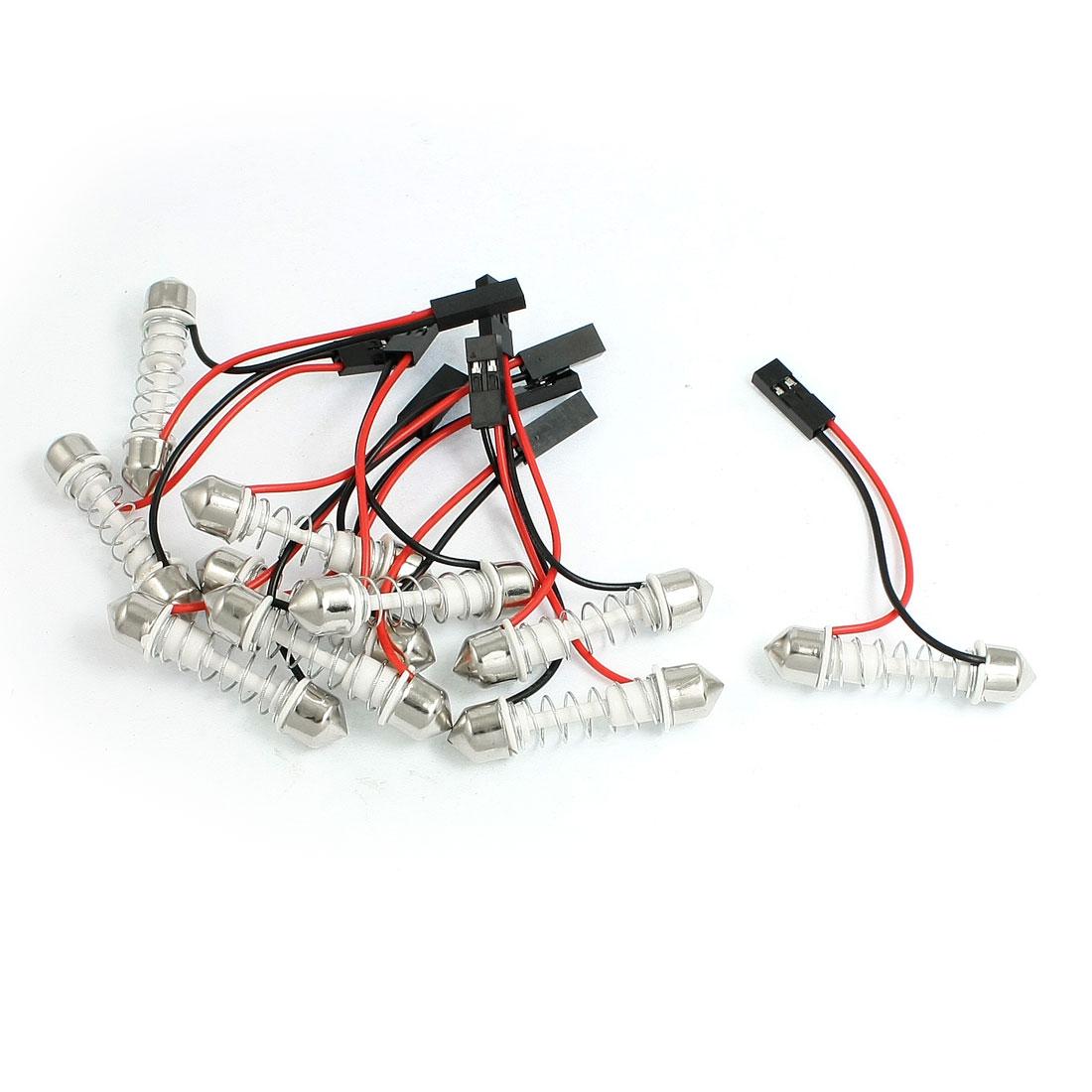 10 x 29-40mm Spring Car Interior Dome Festoon Bulb Base Light Adapter