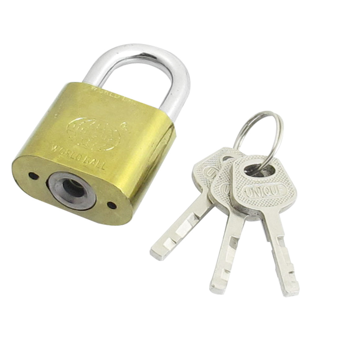 Cabinet Door Gold Tone Metal Security Padlock 30mm w 3 Keys