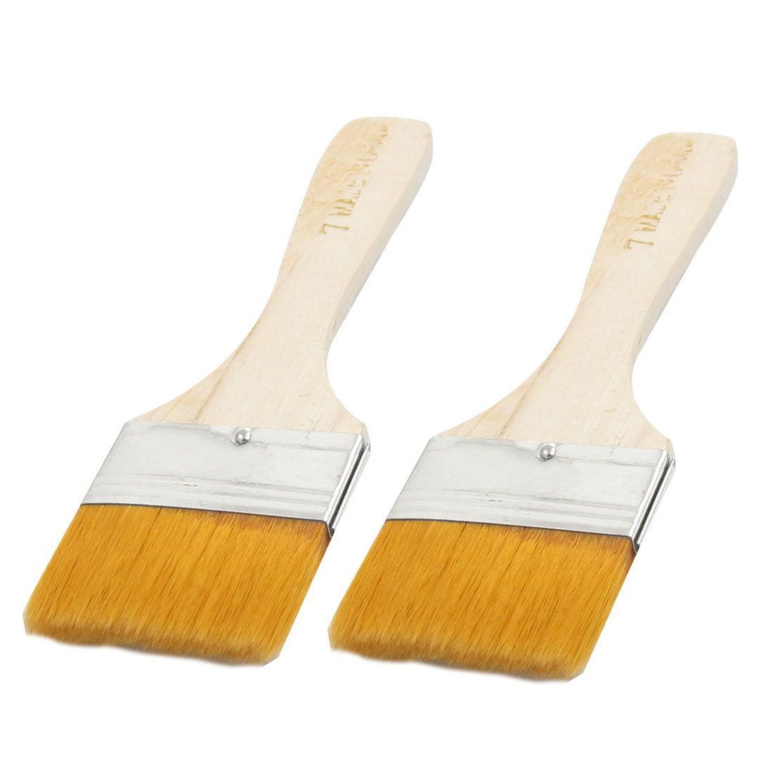 "Orange 1.8"" Width Faux Fur Head Wood Handle Painting Brush 2Pcs"