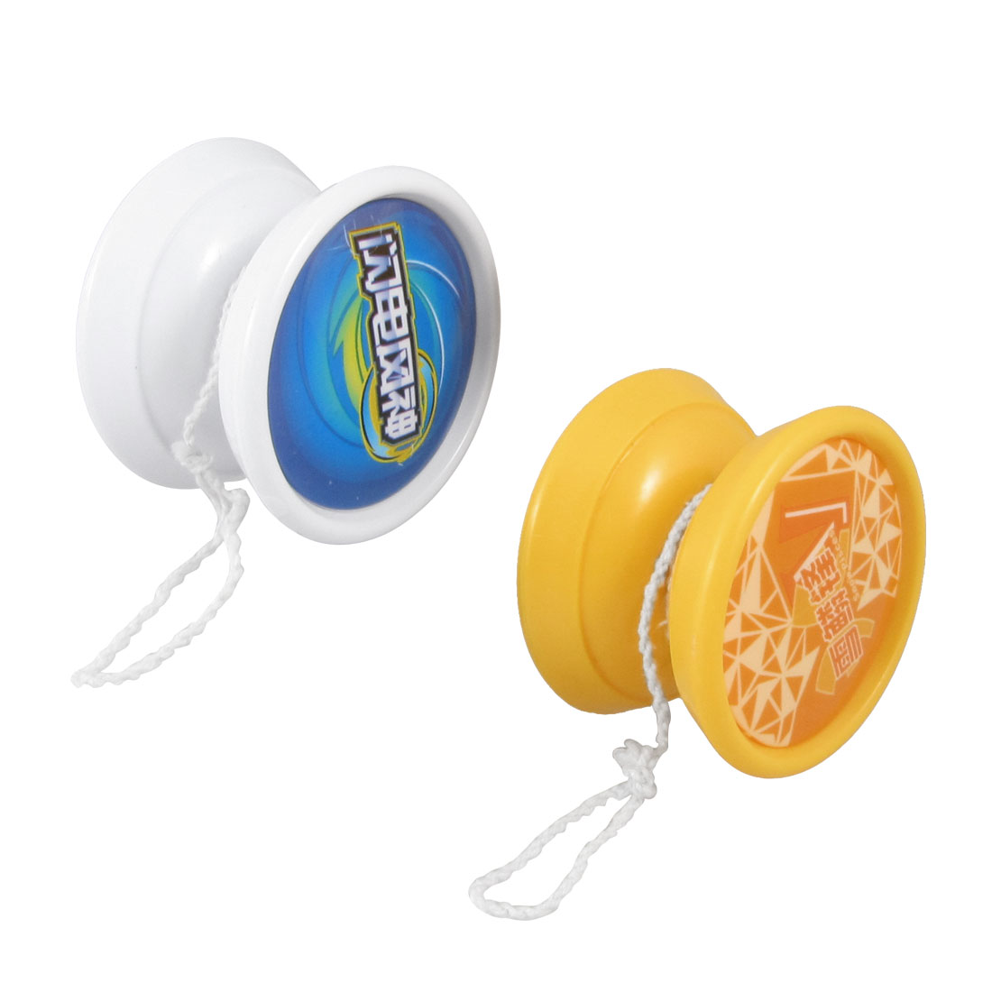 "2 Pcs 2.3"" Diameter White Orange Plastic Yo Yo Yo-yo Toy for Children"