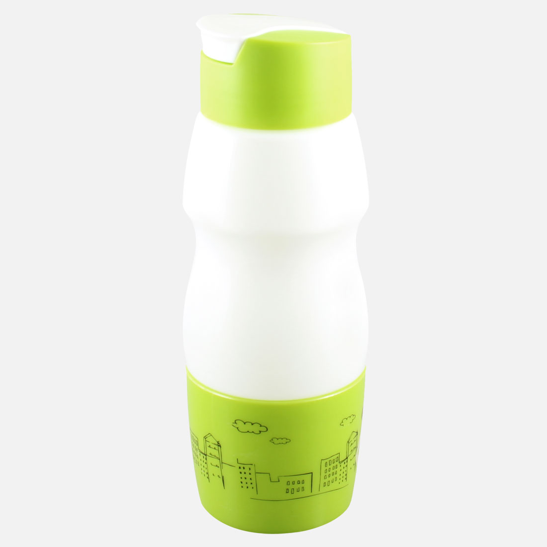 700ML Cartoon Pattern Green White Plastic Drinking Water Bottle Cup Container