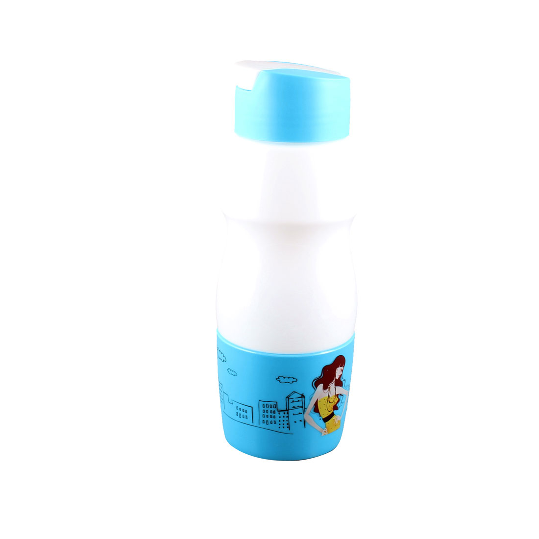 700ML Cartoon Pattern Sky Blue White Plastic Drinking Drink Water Bottle Cup Mug