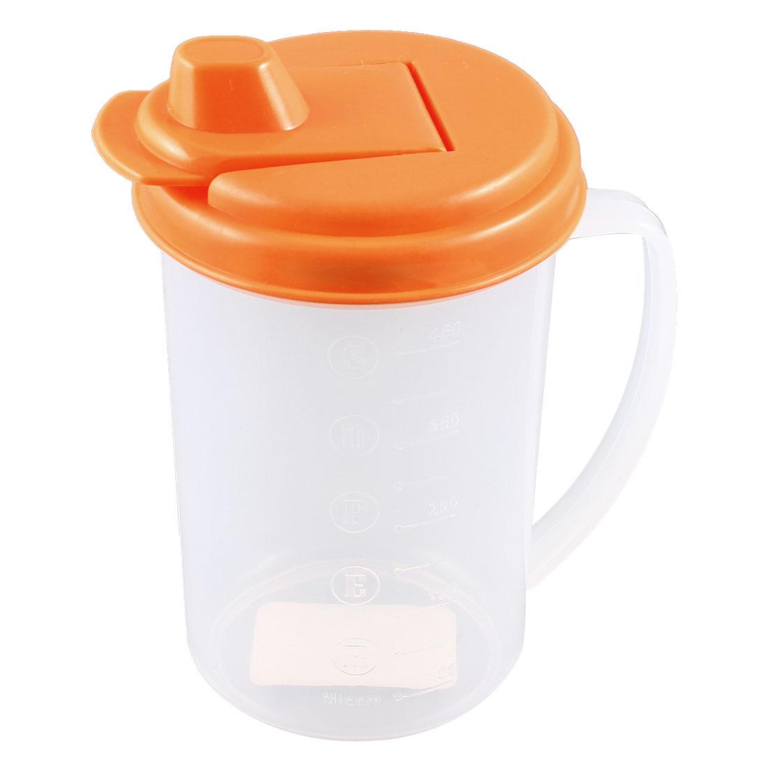 Home Kitchen Orange Top Cap Clear Plastic Oil Vinegar Cruet Bottle 450ml