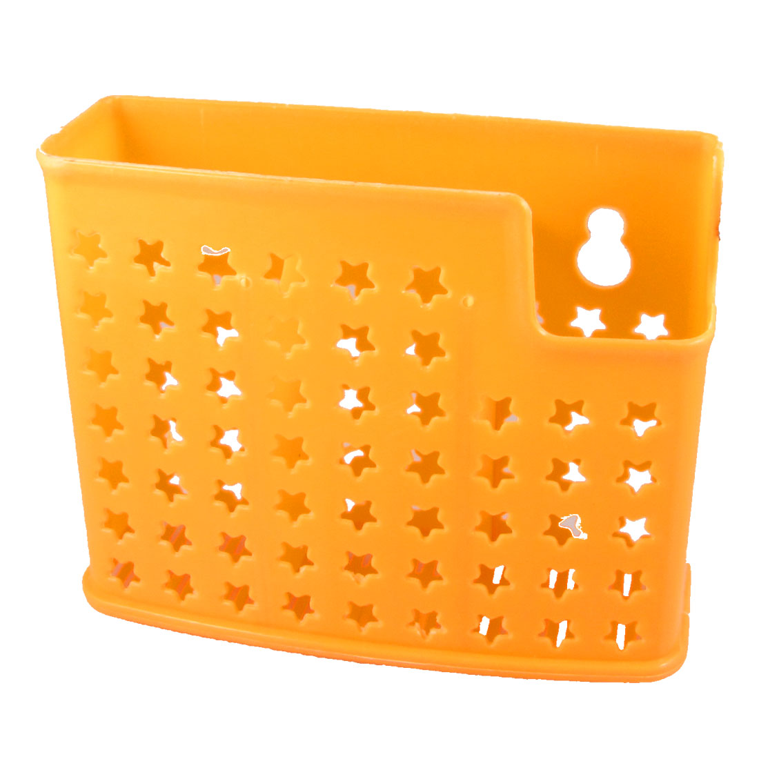 Hollow Star Perforating 3 Compartments Plastic Chopsticks Box Cage Holder Orange