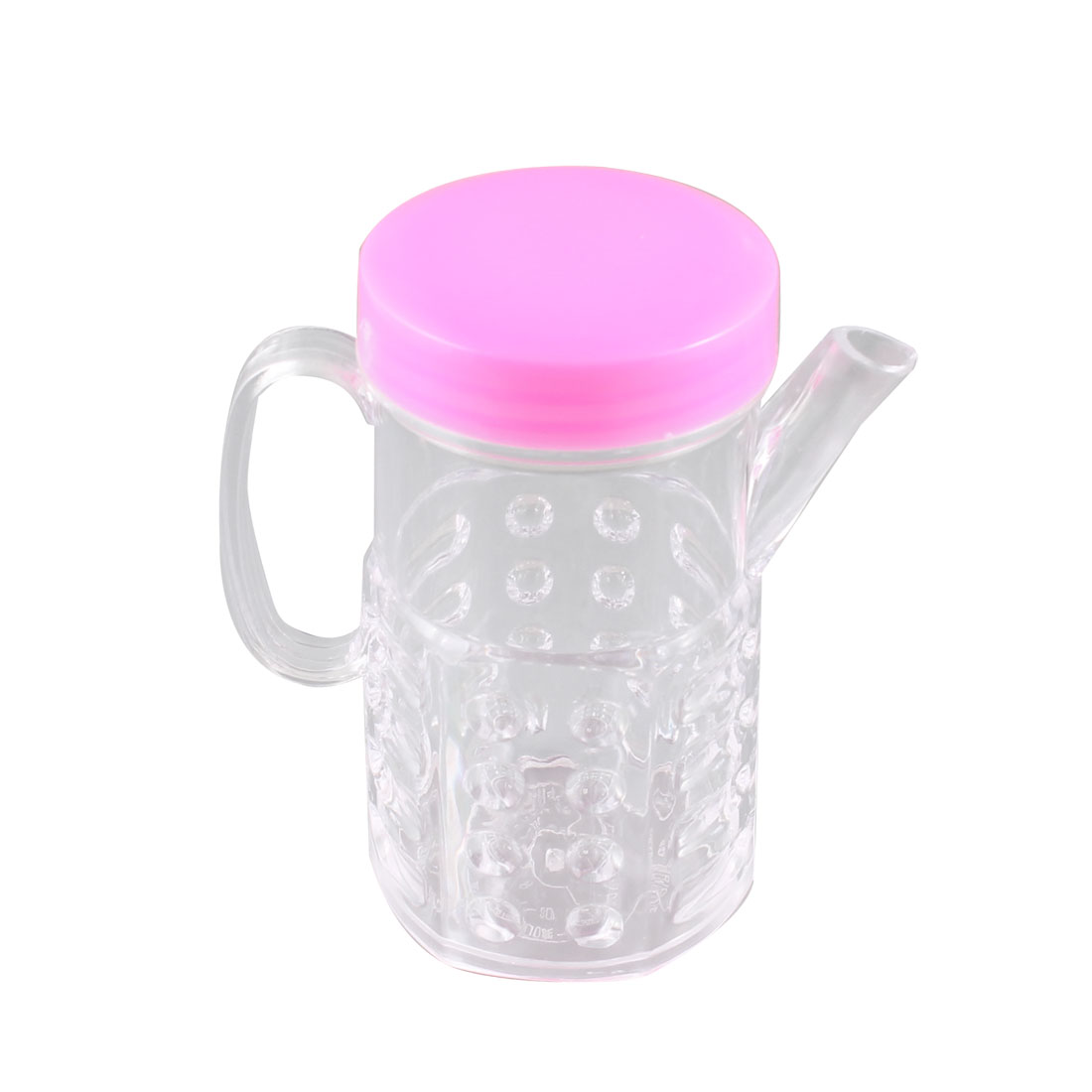 Kitchen Pink Clear Plastic Cooking Oil Vinegar Sauce Cruet Bottle 250ml