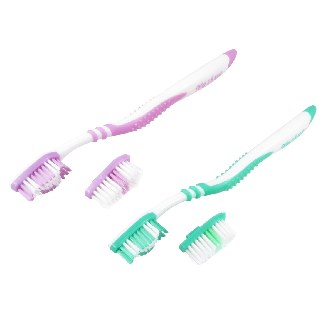 2 Pcs Green Purple Plastic Oral Hygiene Toothbrushes w Replacement Brush Head