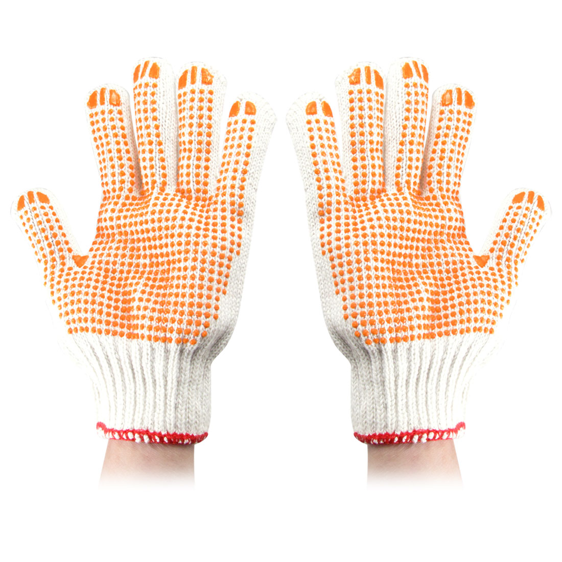 Pair Orange Rubber Dots Pattern Elastic Cuff Cotton Yarn Work Gloves White