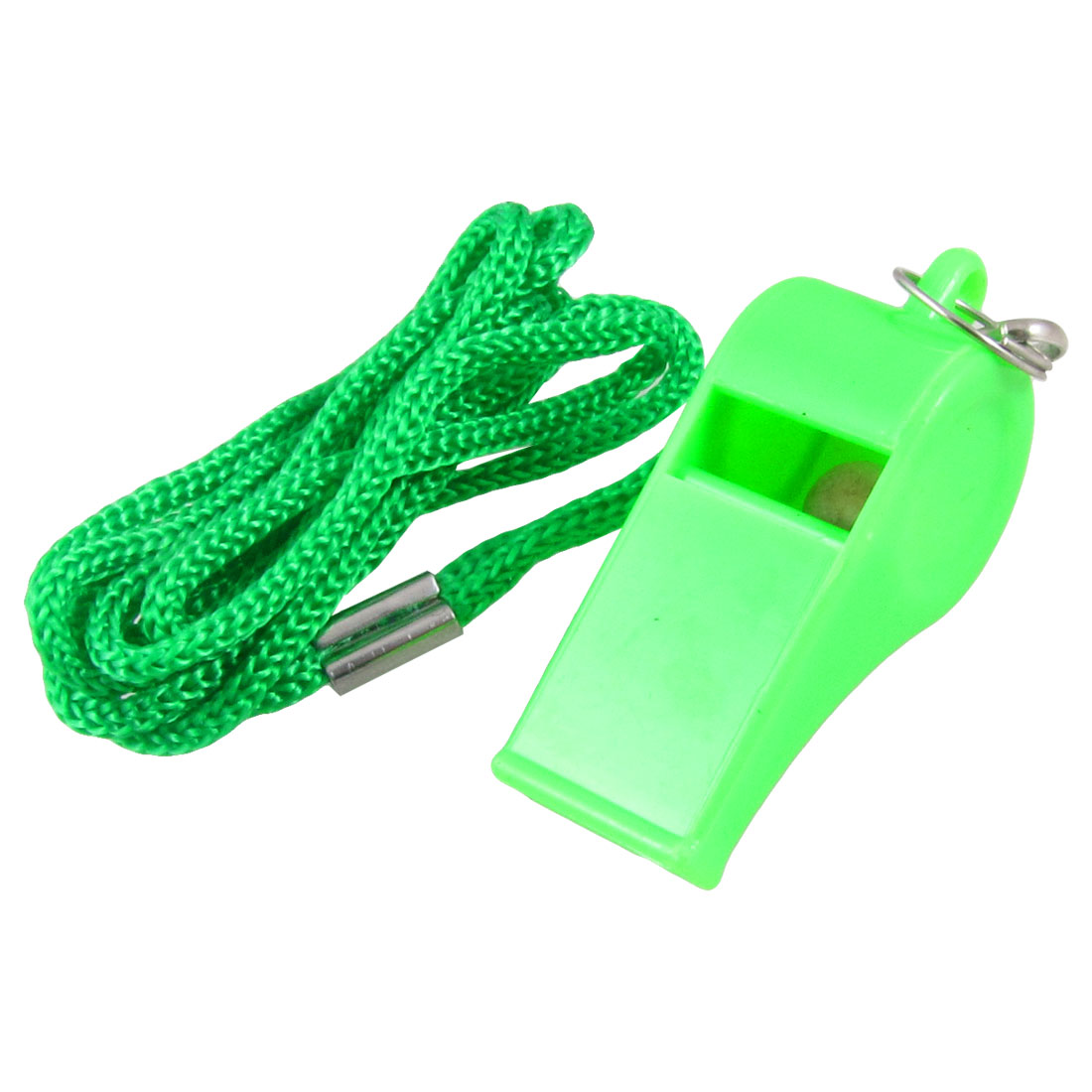 Light Green Plastic Sports Coaching Referee Whistle w Lanyard Cord