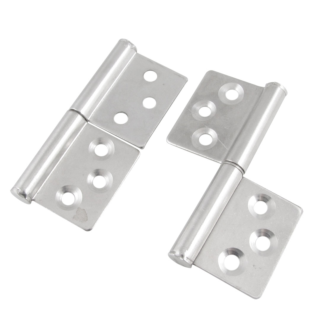 "2 Pcs 3"" Long Metal Rotation Door Window Cabinet Butt Hinge Silver Tone"