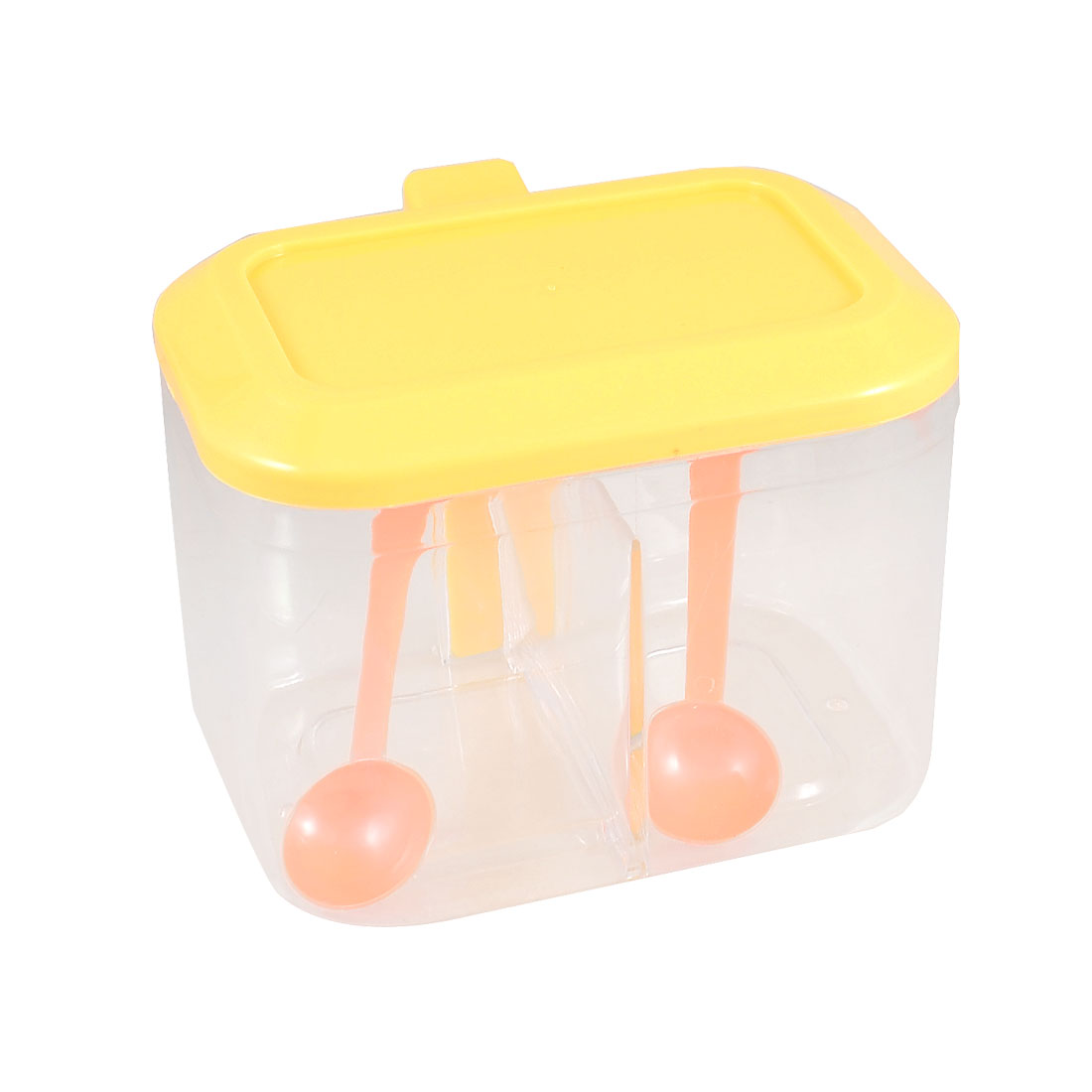Yellow Clear Plastic Seasoning Box 2 Sections Spices Salt Condiment Container Organizer