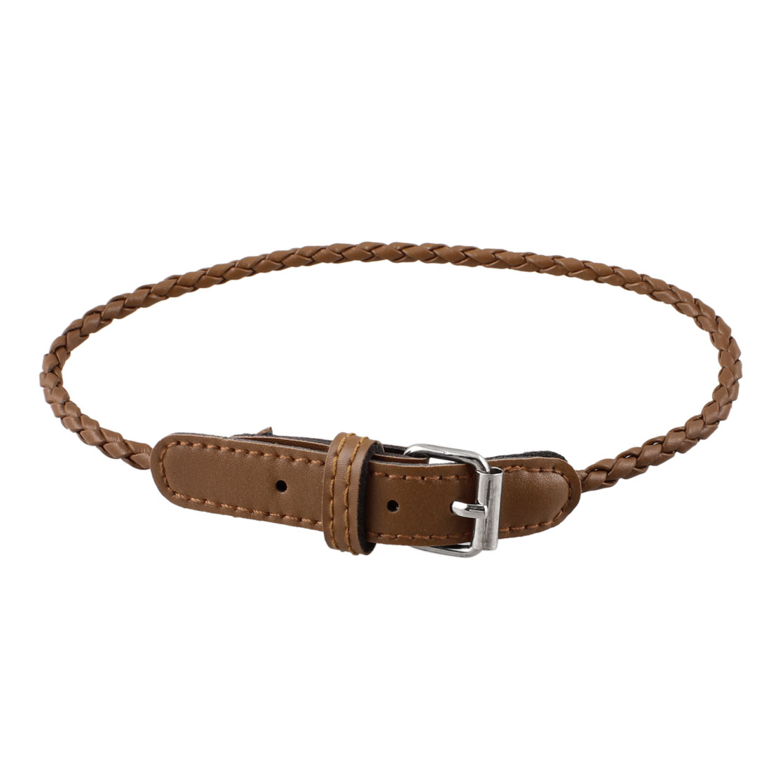 Woman Lady Metal Buckle Braided Band Wristband Brown