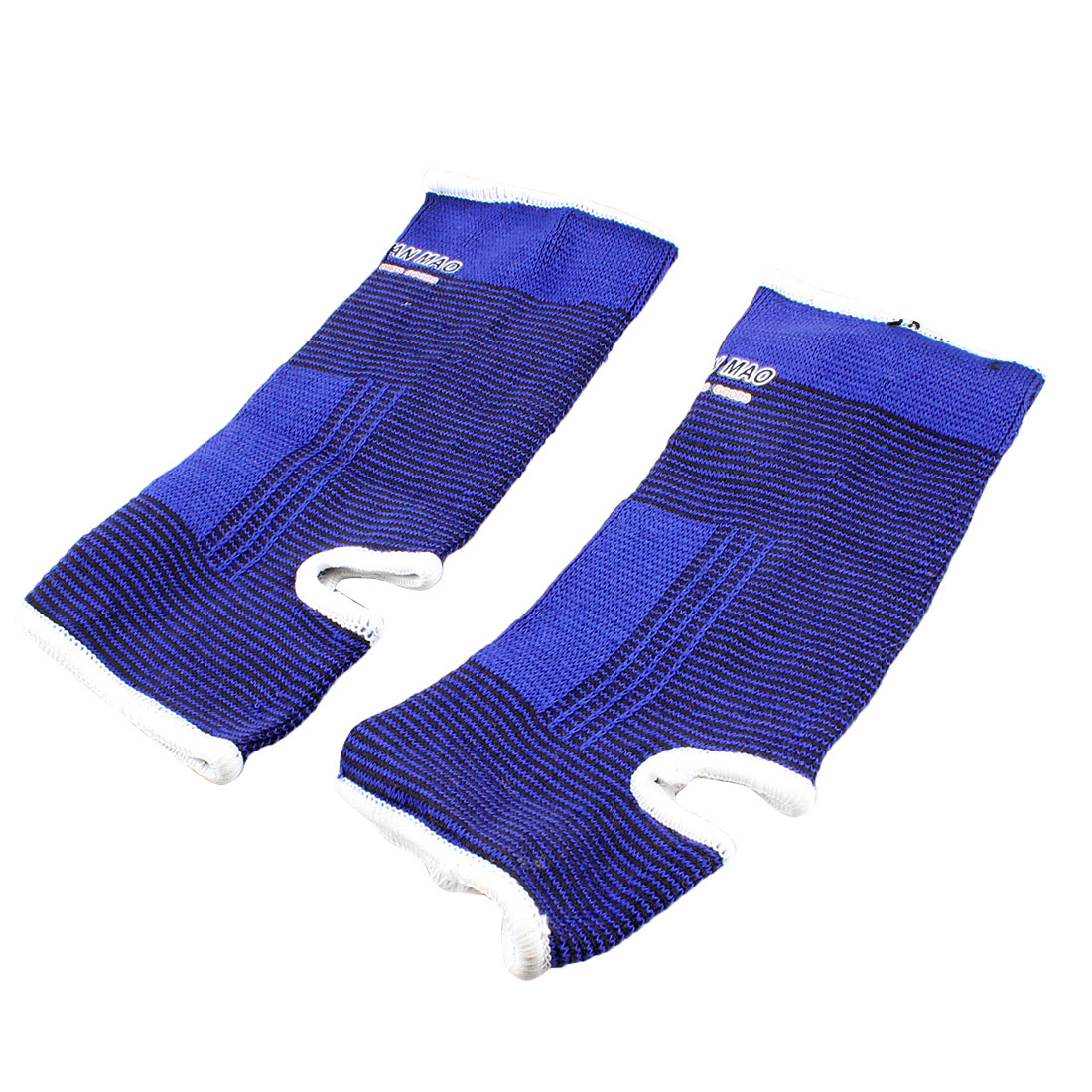 Pinstripes White Hem Ankle Support Sport Sleeve Brace Protectors Black Blue Pair