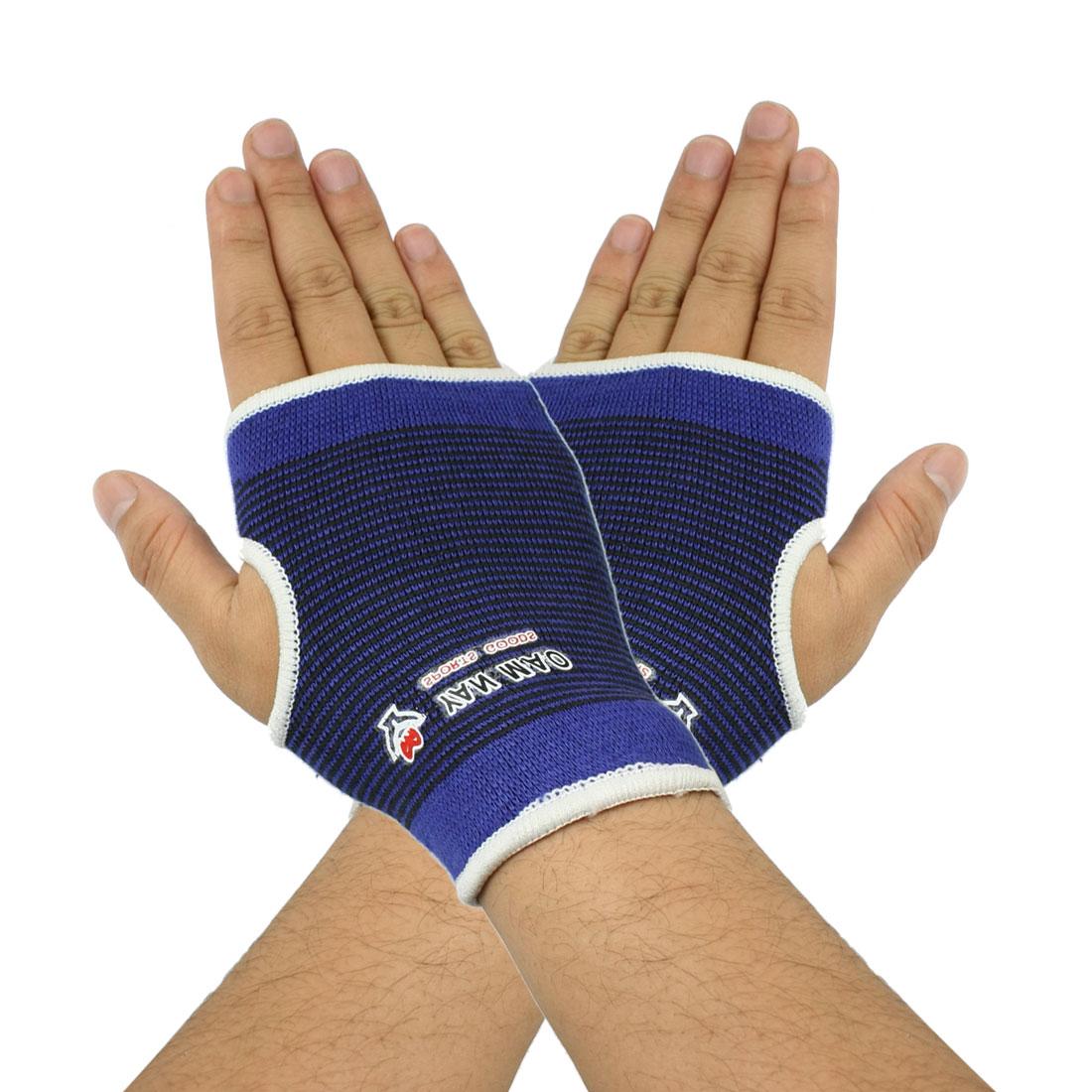 Black Blue Pinstripes Elastic Palm Support Sport Protectors Pair