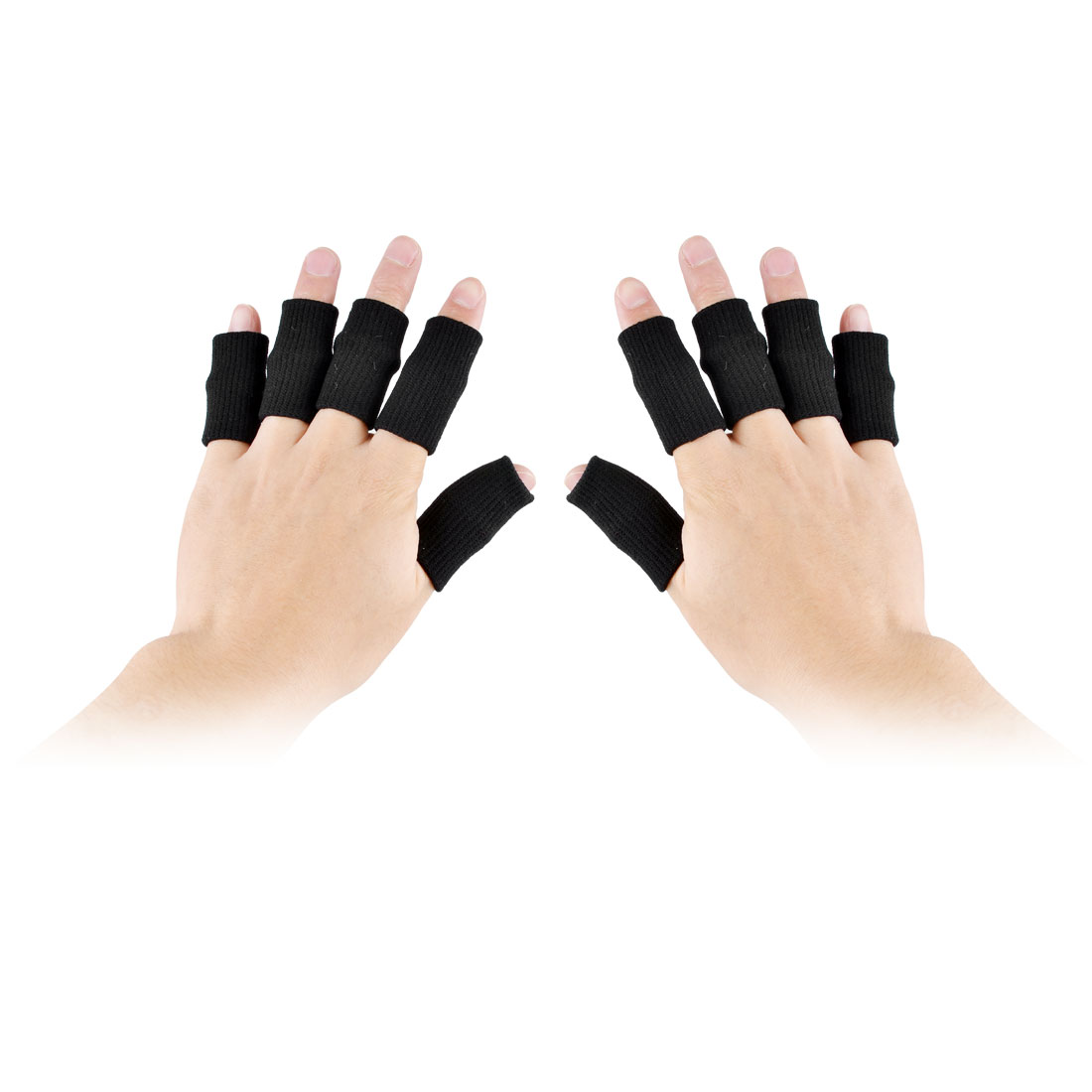 Outdoor Volleyball Elastic Sports Fitness Finger Sleeve Cover Black 10 Pcs