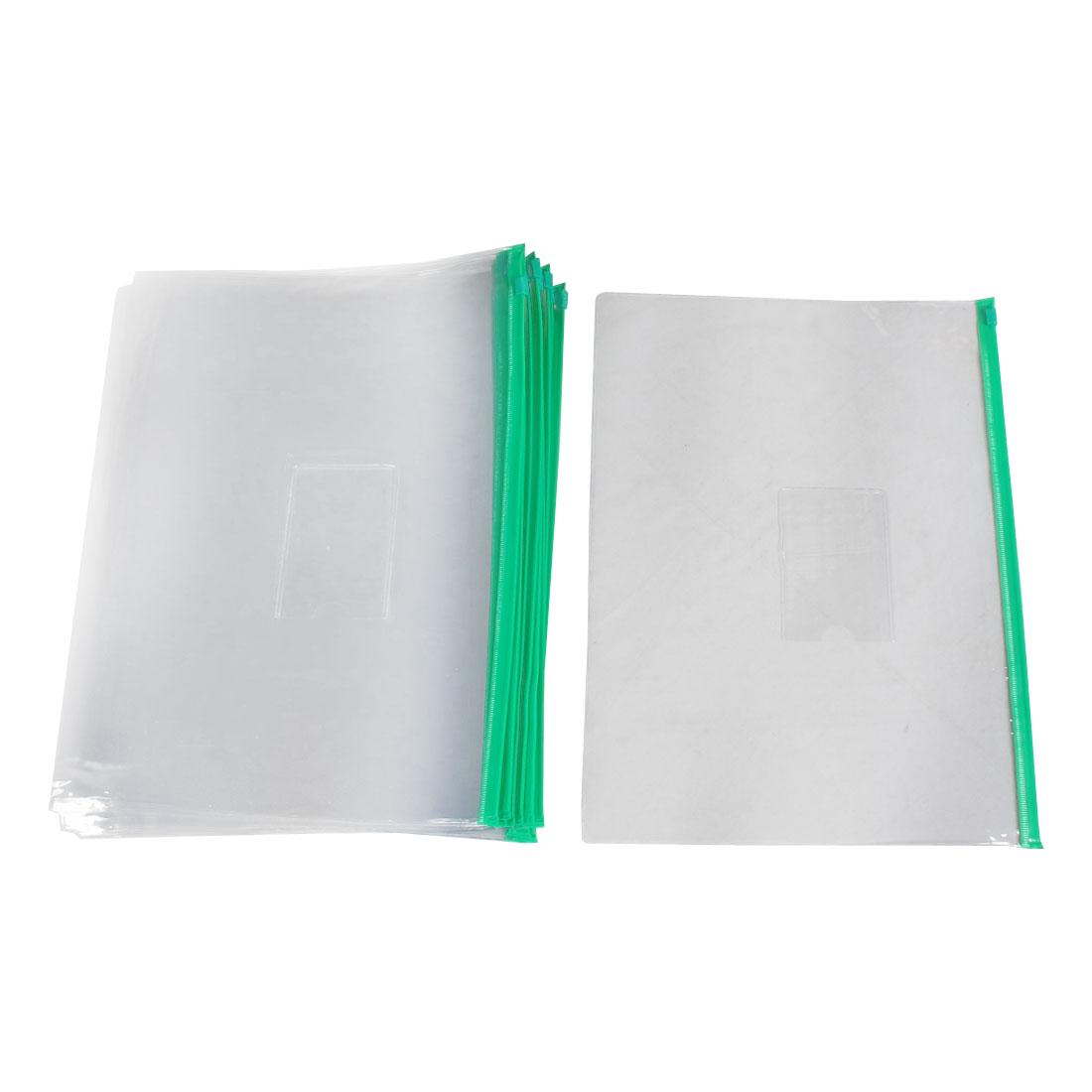 Ziplock Closure Size A4 Paper Slider Folders Files Bags Green Clear 20 Pcs