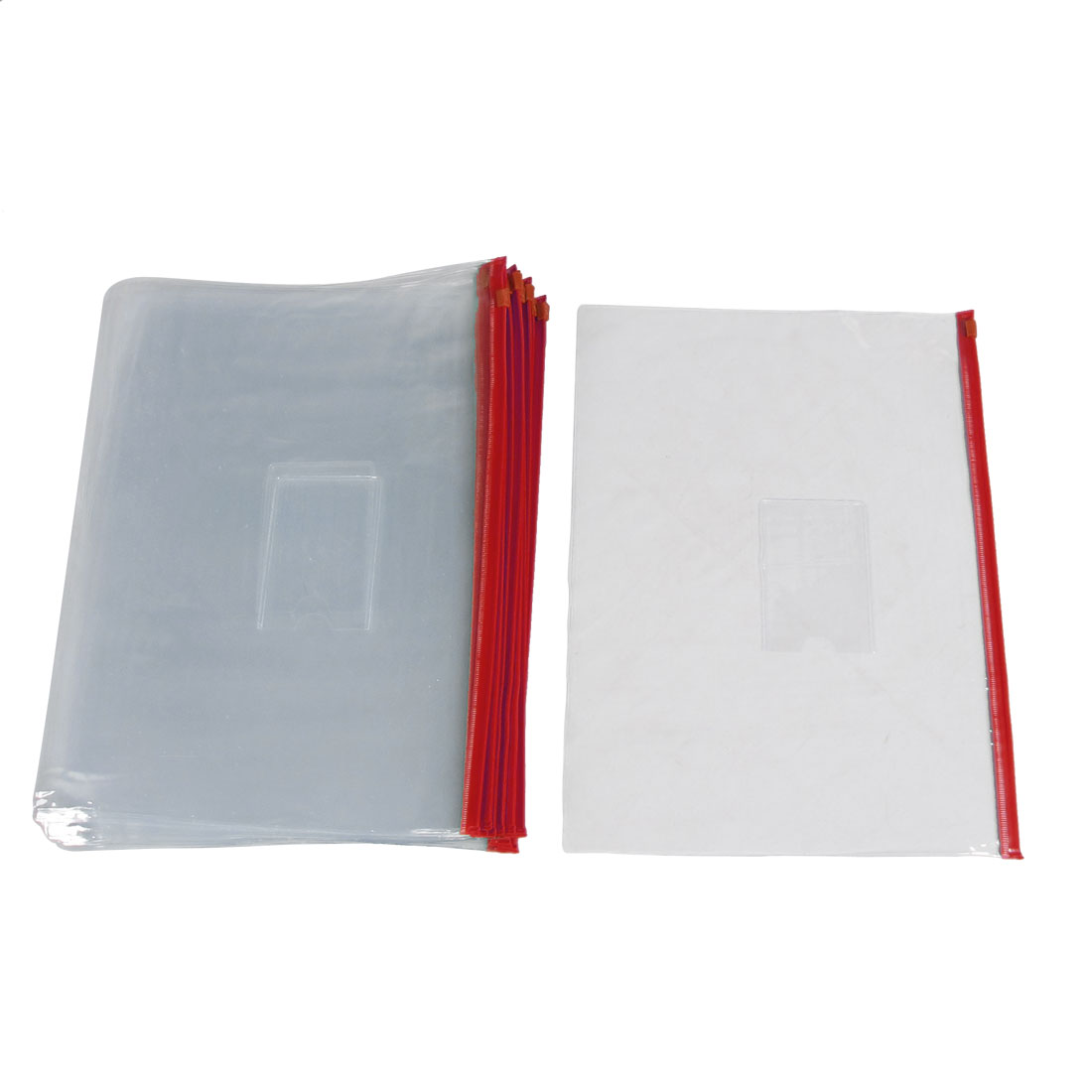 20 Pcs Red Clear Size A4 Paper Slider Ziplock Closure Folders Files Bags
