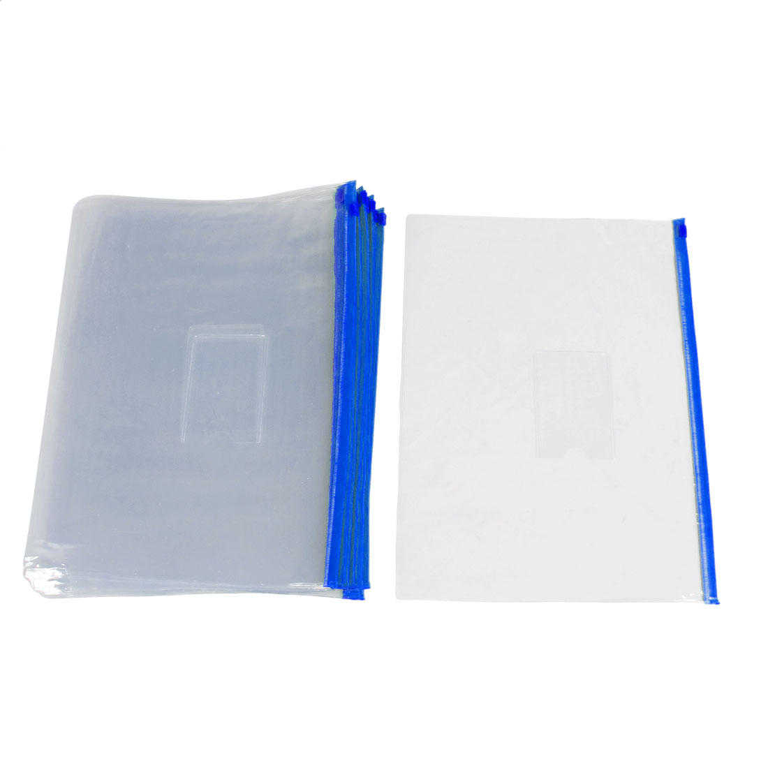 20 Pcs Blue Clear Size A5 Paper Slider Zip Lock Closure Folders Files Bags