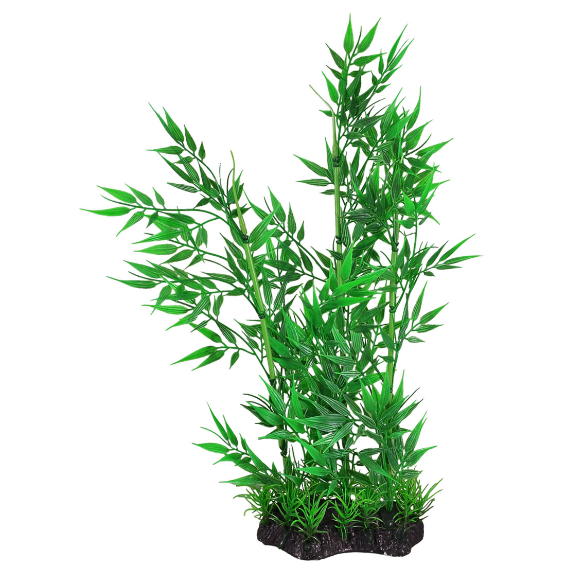 37cm Height Green Plastic Bamboo Decoration Aquarium Plant w Ceramic Base