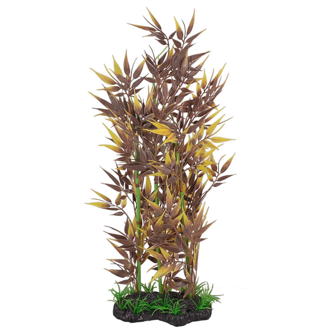 "14.5"" Height Yellow Brown Plastic Bamboo Ornament Fish Aquarium Plant"