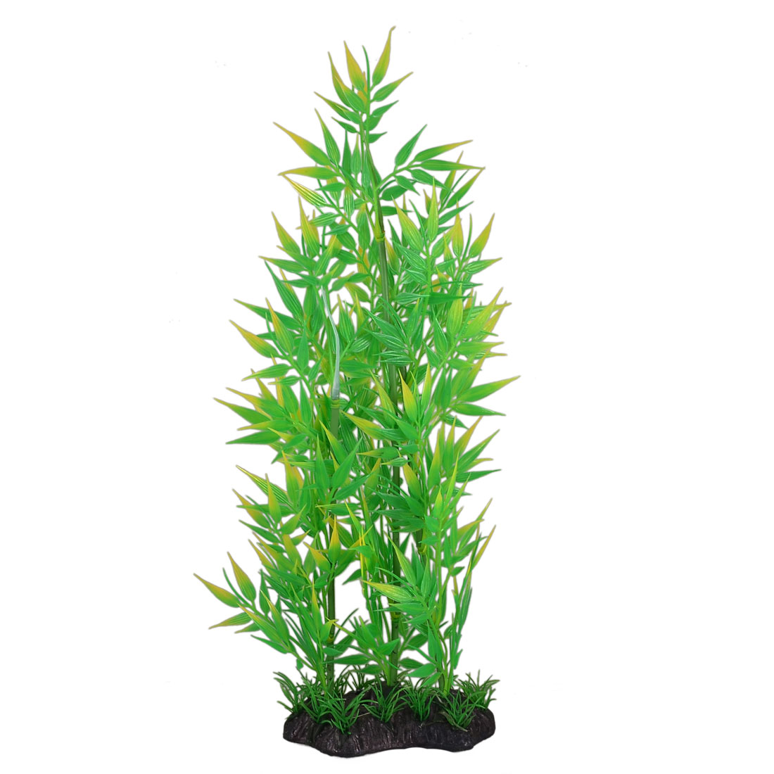 37cm Height Green Yellow Plastic Bamboo Decoration Aquarium Plant