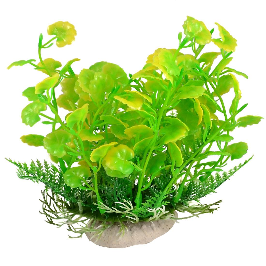 16.5cm Fishtank Fish Bowl Ornament Yellowgreen Plastic Leaf Plant