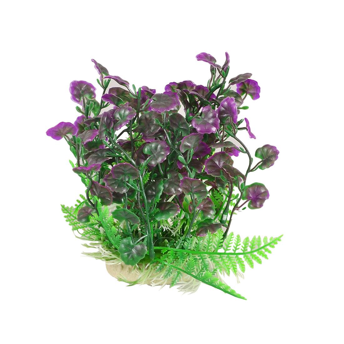 """6.5"""" Height Fishtank Fish Bowl Ornament Green Purple Plastic Leaf Grass"""