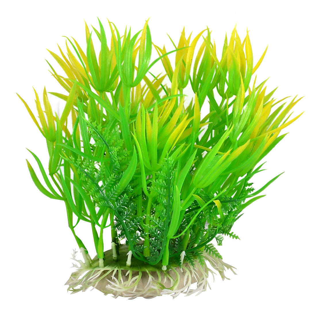 Oval Ceramic Base Aquarium Plastic Plant Ornament Decoration Yellowgreen 18cm