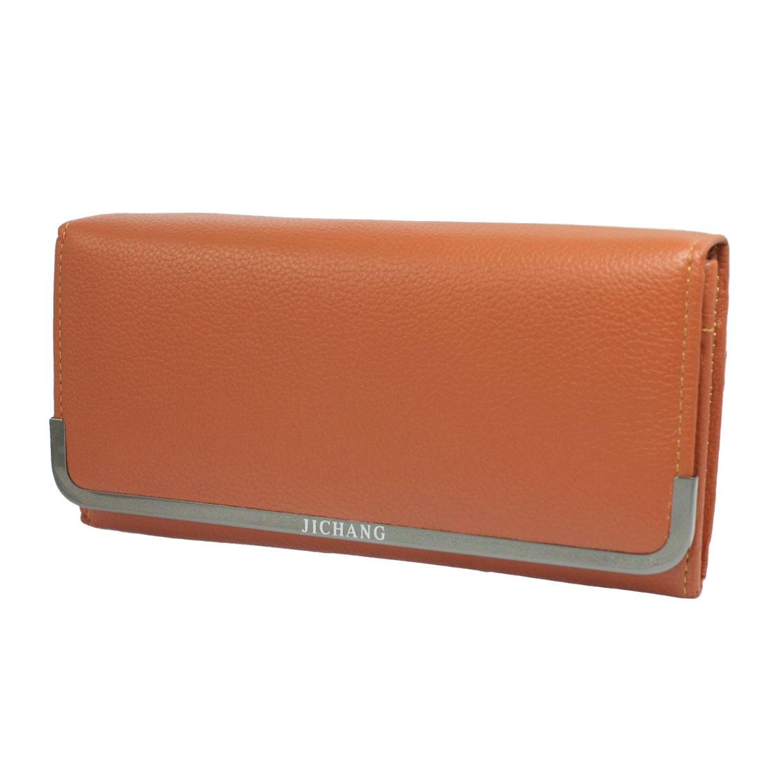 Ladies 5 Compartments Brown Faux Leather Wallet Purse Bag Cash Holder