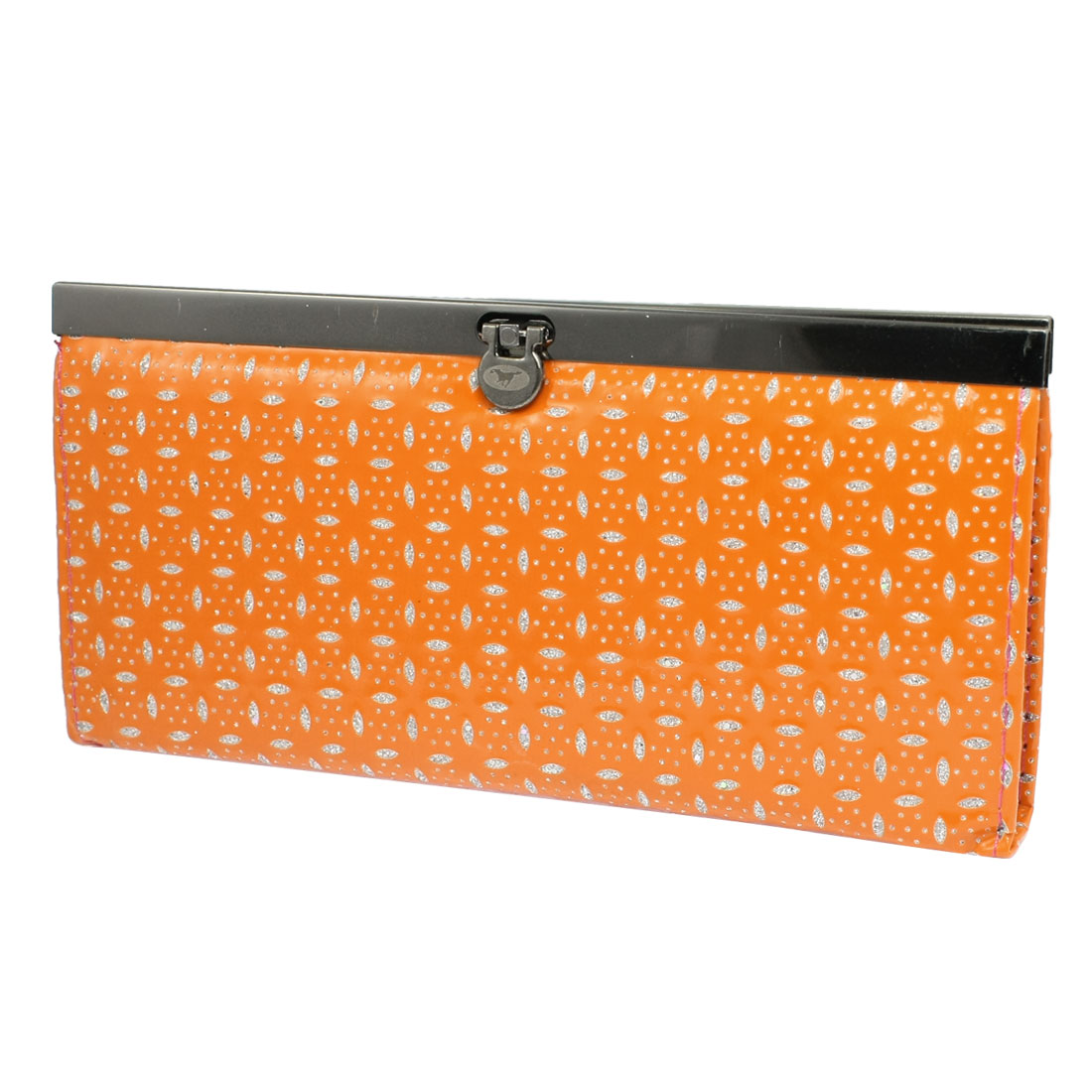 Ladies Glittery Leaf Pattern 5 Compartments Faux Leather Wallet Purse Orange