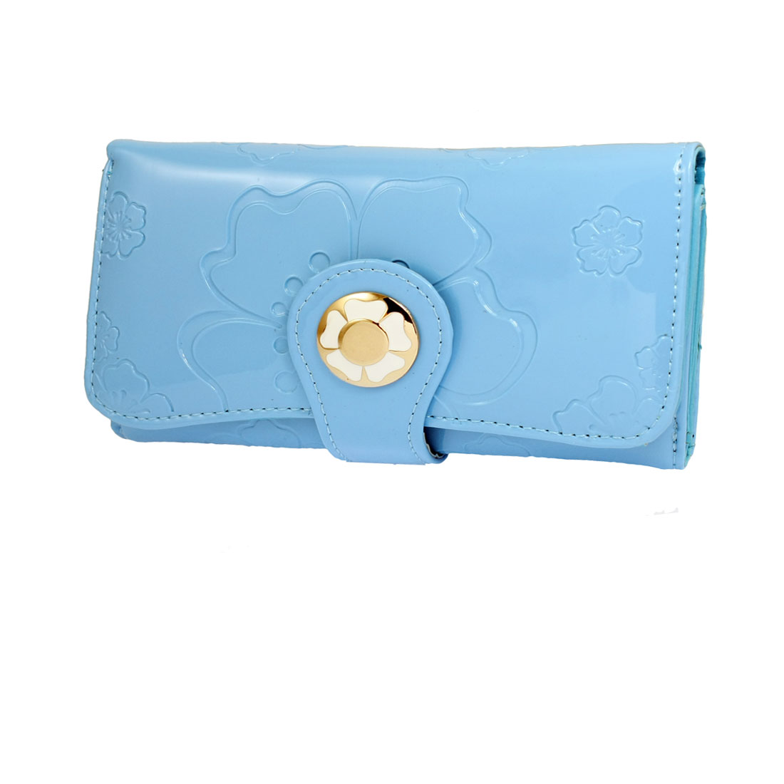 Ladies Flowers Pattern Foldable Blue Faux Leather Wallet Purse Bag Card Case