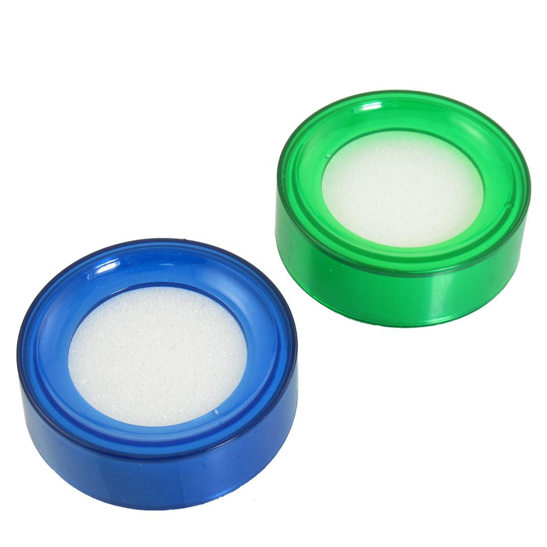 Blue Green Fingertip Moistener for Counting Cash Money 2 pcs